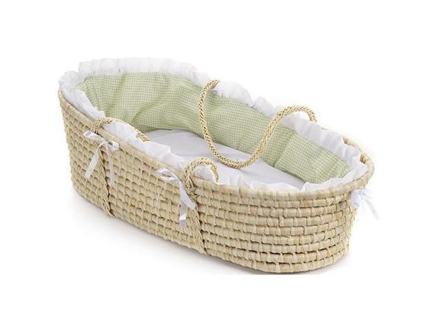 Badger Basket Natural Moses Basket w/ Sage Gingham Bedding