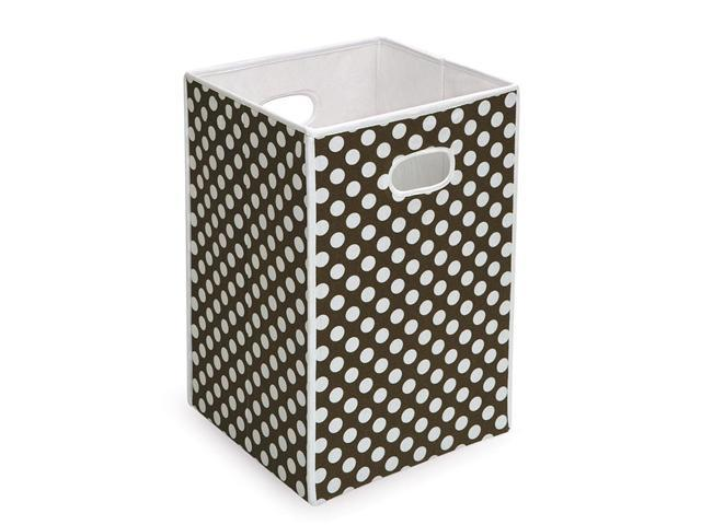 Badger Basket Folding Hamper/Storage Bin - Brown w/ White Polka Dots - 21300