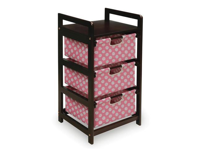 Badger Basket Espresso Finish Three Drawer Hamper - Pink Polka Dots - 11800