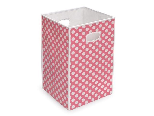 Badger Basket Folding Hamper/Storage Bin - Pink w/ White Polka Dots - 21000