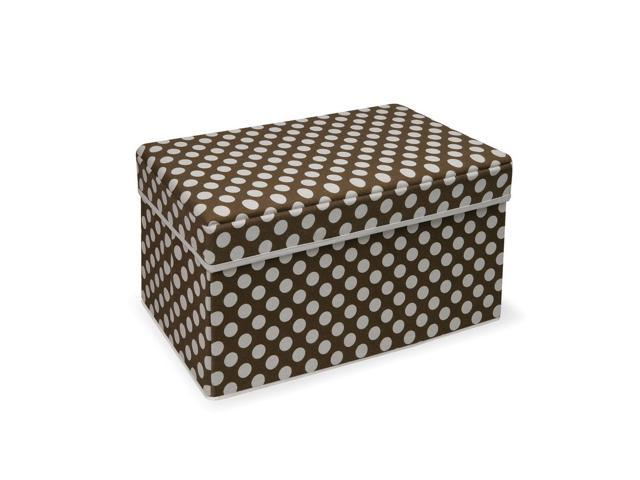 Badger Basket Brown Polka Dot Double Folding Storage Seat - 22604