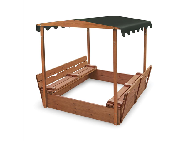 Covered Convertible Cedar Sandbox w/Canopy + Two Bench Seats