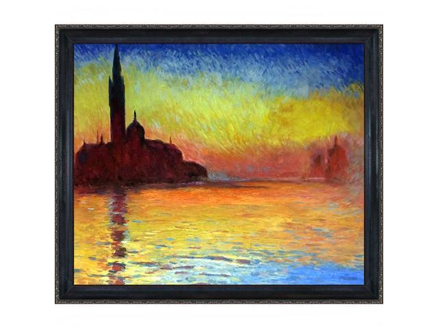 San Giorgio Maggiore by Twilight with La Scala Frame - Black and Gold Finish - Hand Painted Framed Canvas Art