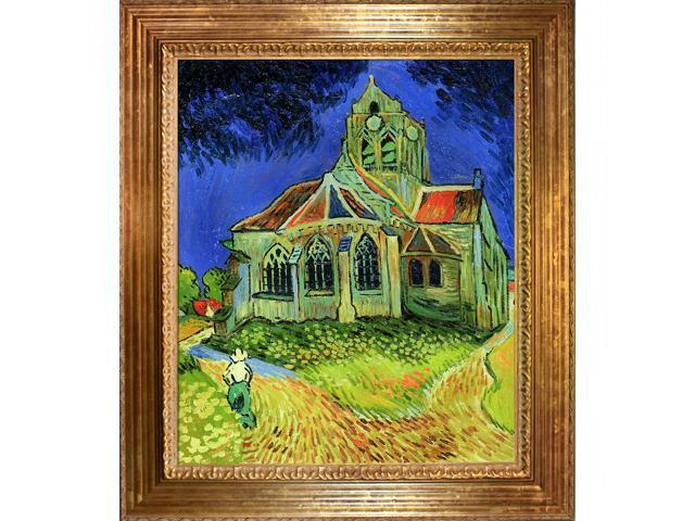 The Church at Auvers with Vienna Wood Frame - Gold Leaf Finish - Hand Painted Framed Canvas Art