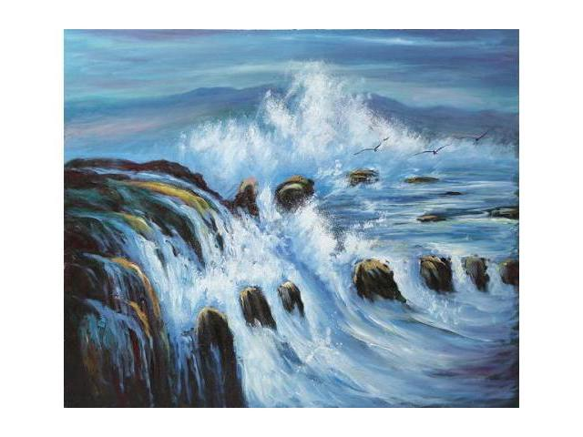 Seascapes: Threatening Tides - Hand Painted Canvas Art