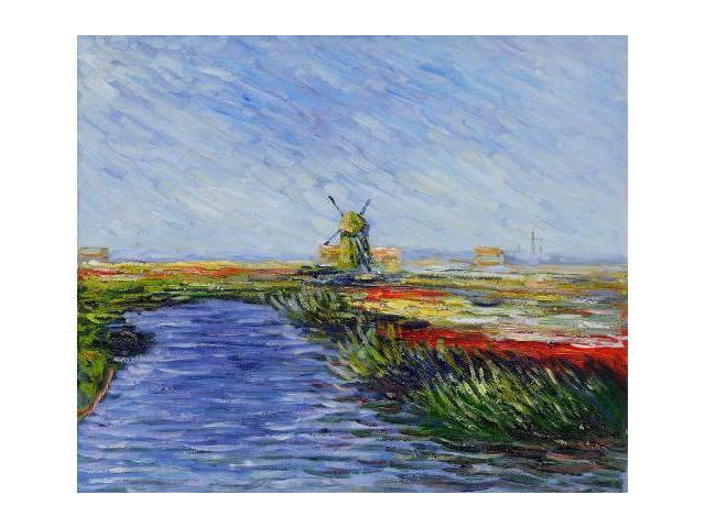 Monet Paintings: Tulip Field in Holland - Hand Painted Canvas Art