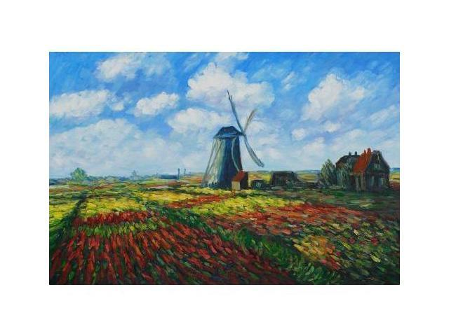 Monet Paintings: Tulip Field with the Rijnsburg Windmill - Hand Painted Canvas Art