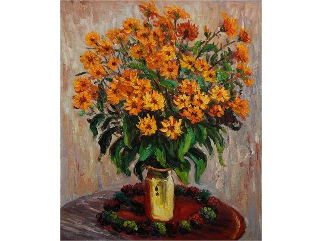 Monet Paintings: Vase of Chrysanthemums - Hand Painted Canvas Art