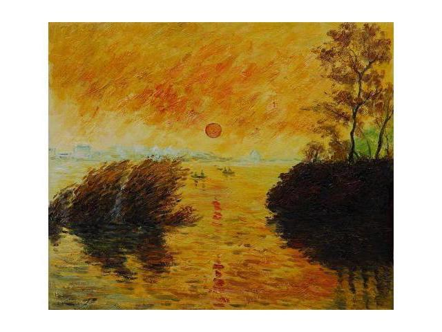 Monet Paintings: Le Coucher Du Soleil La Seine - Hand Painted Canvas Art