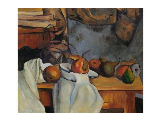 Cezanne Paintings: Ginger Pot with Pomegranate and Pears - Hand Painted Canvas Art