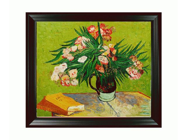 Van Gogh Paintings: Majolica Jar with Branches of Oleander, 1888 with Black Satin Frame - Eco Friendly - Hand Painted Framed Canvas Art