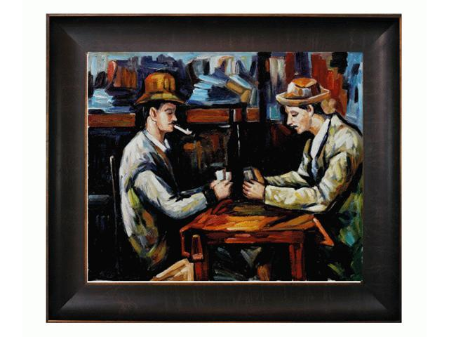 Cezanne Paintings: Card Players with Pipes with Veine D' Or Bronze Scoop - Bronze and Rich Brown Finish - Hand Painted Framed ...