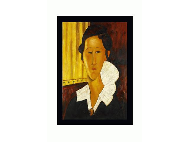 Modigliani Paintings: Portrait of Anna Zborovska with New Age Wood Frame - Black Finish - Hand Painted Framed Canvas Art