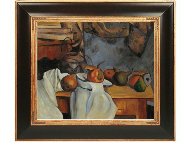 Cezanne Paintings: Ginger Pot with Pomegranate and Pears with Opulent Frame - Dark Stained Wood with Gold Trim - Hand Painted Framed Canvas Art