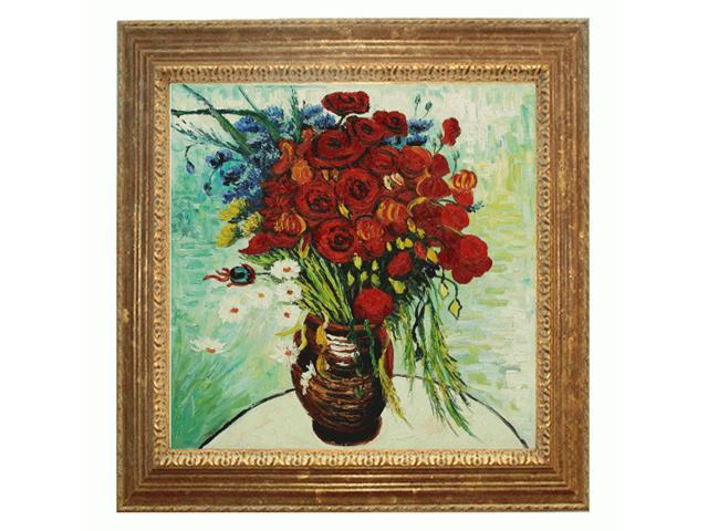 Van Gogh Paintings: Vase with Daisies and Poppies with Vienna Wood Frame - Broken Gold Leaf Finish - Hand Painted Framed Canvas Art