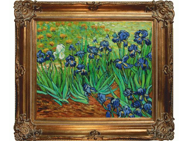 Van Gogh Paintings: Irises with Renaissance Bronze Frame - Bronze Finish - Hand Painted Framed Canvas Art