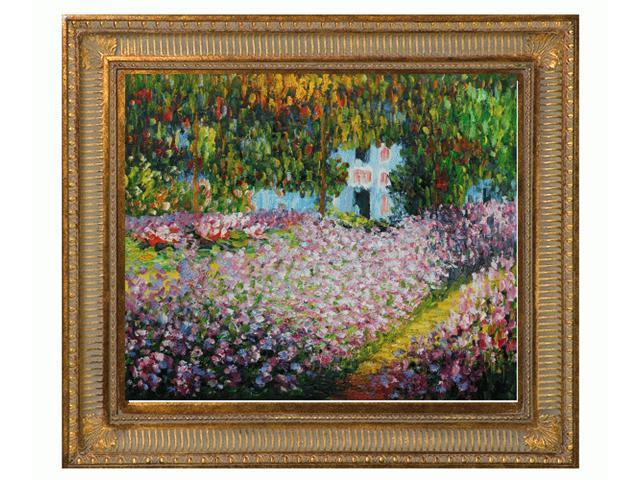 Monet Paintings: Artist's Garden at Giverny with Regal Champagne Frame - Dark Champagne Finish - Hand Painted Framed Canvas ...