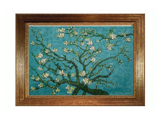 Van Gogh Paintings: Branches Of An Almond Tree In Blossom with Vienna Wood Frame - Broken Gold Leaf Finish - Hand Painted Framed Canvas Art