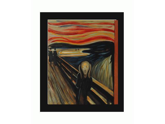 The Scream with New Age Wood Frame - Black Finish - Hand Painted Framed Canvas Art