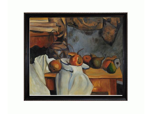 Cezanne Paintings: Ginger Pot with Pomegranate and Pears with La Scala Frame - Black and Gold Finish - Hand Painted Framed Canvas Art