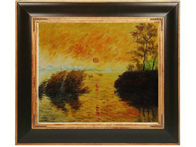 Monet Paintings: Le Coucher Du Soleil La Seine with Opulent Frame - Dark Stained Wood with Gold Trim - Hand Painted Framed Canvas Art