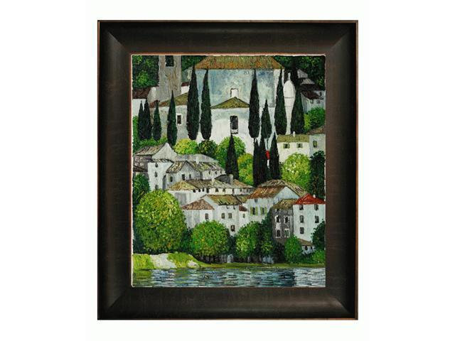 Klimt Paintings: Church in Cassone with Veine D' Or Bronze Scoop - Bronze and Rich Brown Finish - Hand Painted Framed Canvas Art