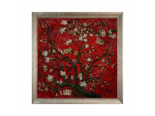Van Gogh Paintings: Branches of an Almond Tree in Blossom (Interpretation in Red) with Silver Scoop with Swirl Lip - Silver Frame with Champagne Highlights - Hand Painted Framed Canvas Art