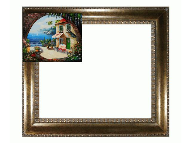 Mediterranean Scenes: Cafe At Oceanside with El Dorado Gold Frame - Patterned Dark Gold Finish - Hand Painted Framed Canvas Art