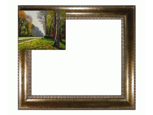 The Road to Bas-Breau, Fontainebleau with El Dorado Gold Frame - Patterned Dark Gold Finish - Hand Painted Framed Canvas Art