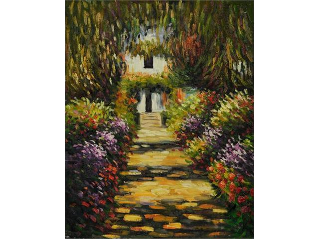 Garden Path at Giverny - Hand Painted Canvas Art