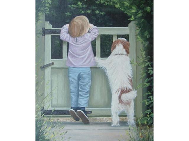 Girl and Dog - Canvas Art