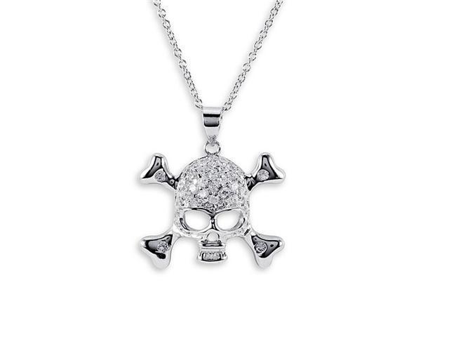 925 Sterling Silver CZ Skull Crossbones Charm Necklace