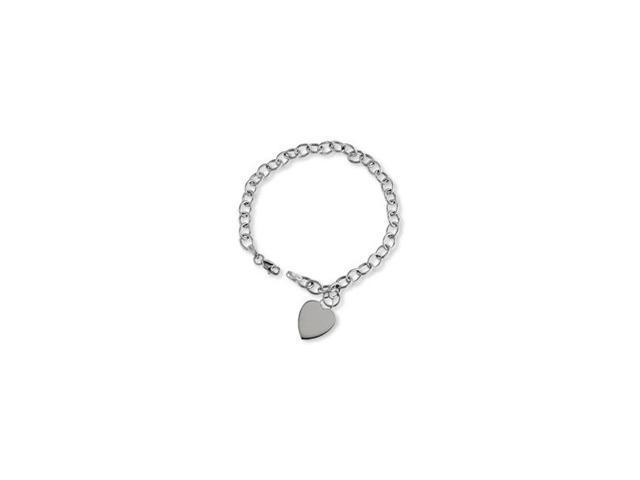 Ladies 14K White Gold Chain Heart Tag Links Bracelet