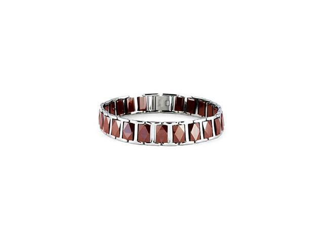 Mens Red Ceramic Tungsten Stainless Steel Link Bracelet