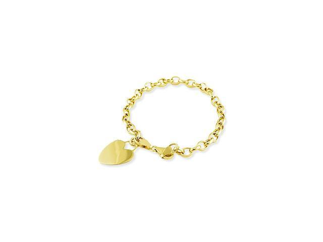 Ladies 14k Yellow Gold Solid Heart Love Charm Bracelet