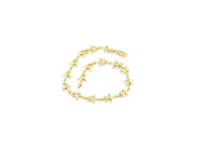 Ladies Solid 14k Yellow Gold Star Charm Links Bracelet