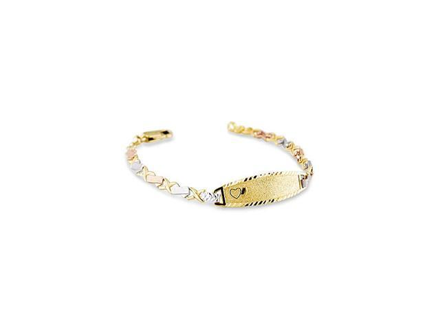 Kids 14k Yellow Rose White Gold X Heart ID Bracelet