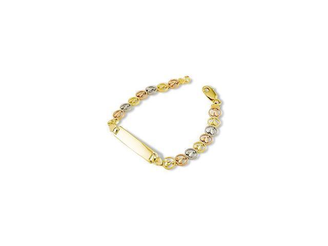 14k White Solid Rose Gold Round Engraveable ID Bracelet