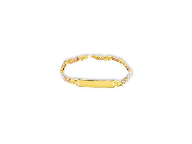 14k White Solid Rose Gold Heart Engraveable ID Bracelet