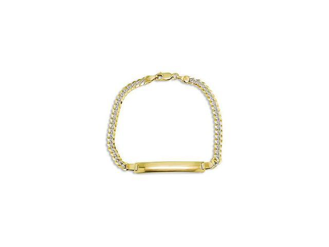 14k White Yellow Gold ID Slim Cuban Chain ID Bracelet