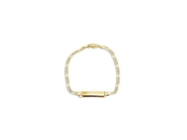 Childrens 14k Yellow White Gold ID Figaro ID Bracelet