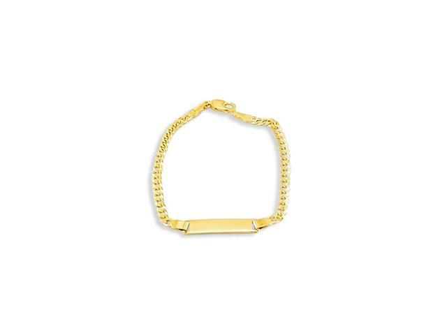 Kids 14k Solid Gold Cuban Chain Engraveable ID Bracelet