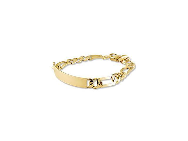 Mens 14k Solid Gold Figaro Engraveable ID Bracelet
