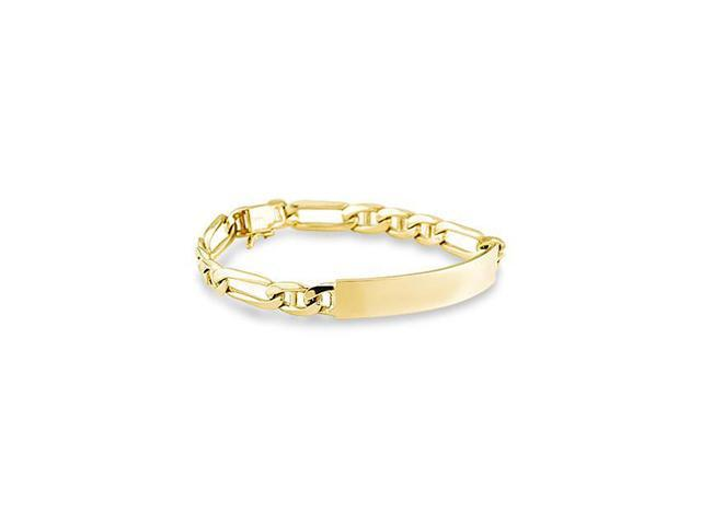 14k Solid Yellow Gold Figaro Engraveable ID Bracelet
