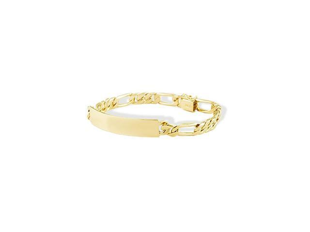 Mens 14k Solid Gold Slim Figaro Engraveable ID Bracelet