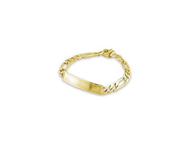 Mens Solid 14k Yellow Gold Figaro Chain ID Bracelet