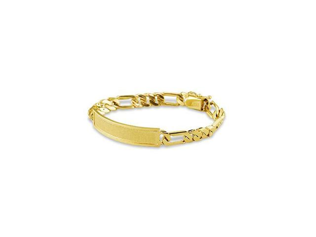 Mens 14k Yellow Gold Figaro Engraveable ID Bracelet