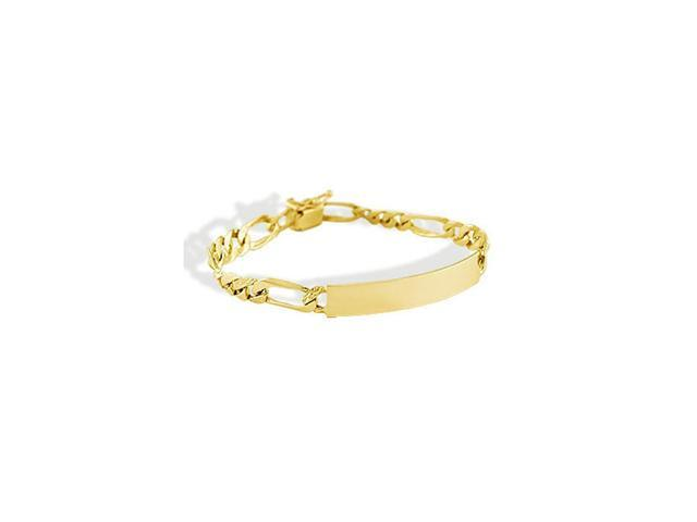 14k Yellow Gold Figaro Chain Engraveable ID Bracelet