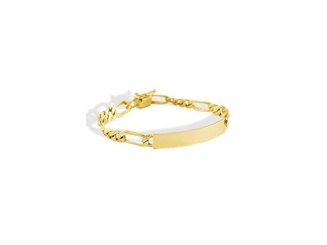 14k Yellow Gold Figaro Chain Engraveable ID Bracelet