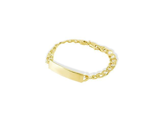 14k Yellow Gold Nugget Cuban Engraveable ID Bracelet